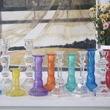 Colorful Glass Christmas Crystal Candle Stand Holder Centerpieces Nordic Decoration Home Stick Porta Velas Candelabra 300