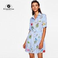 Eileen Elisa Scuwlinen Vestidos Dress 2017 Autumn Empire Waist Short Dresses Printed Stripe Blue Dress With