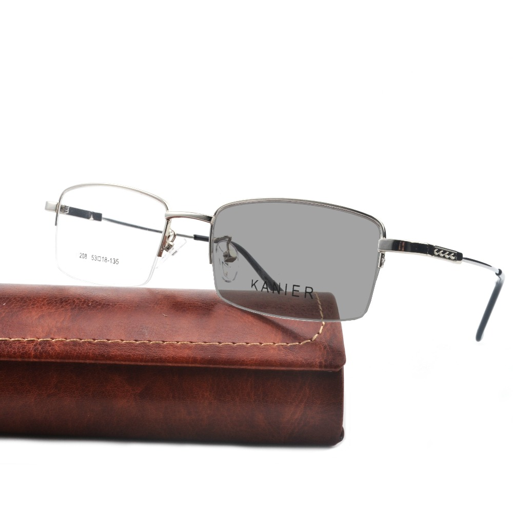 Men's Transition Sun Photochromic Sunglasses Grey Lens Men's Fashion Half Frame Retro Reading Glasses NX
