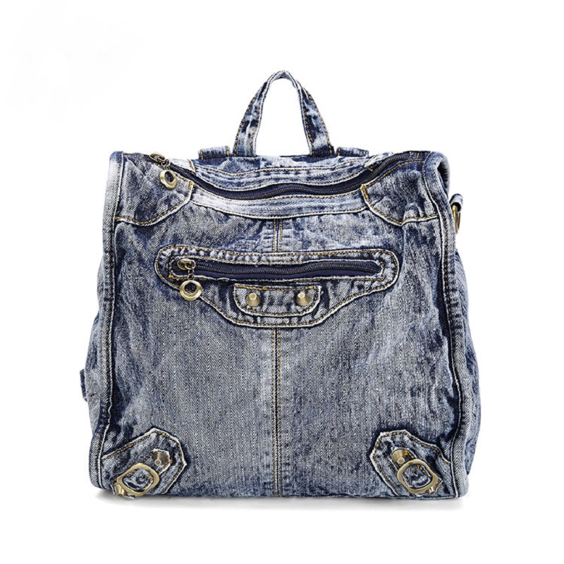 Nieuwe Vintage Casual Preppy Style Silt Pocket Denim Small Backpack - Rugzakken