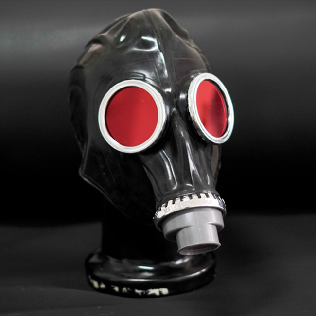 FE 00 Quality latex rubber full head conquer black gas mask fetish hood accessory breathing