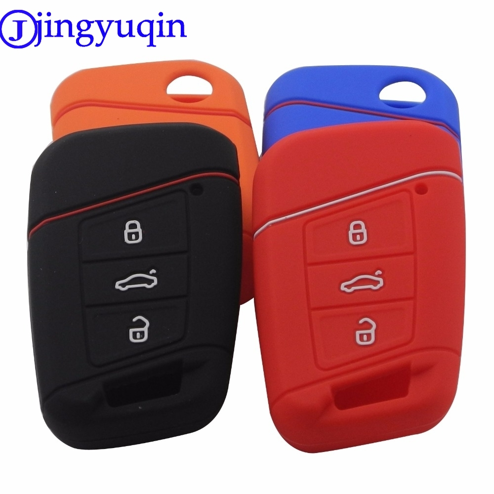 Jingyuqin Remote 3 BTNS Silicone Car Key Fob Bag Cover Case For Volkswagen VW Magotan Passat B8 Skoda A7 Smart  Protector