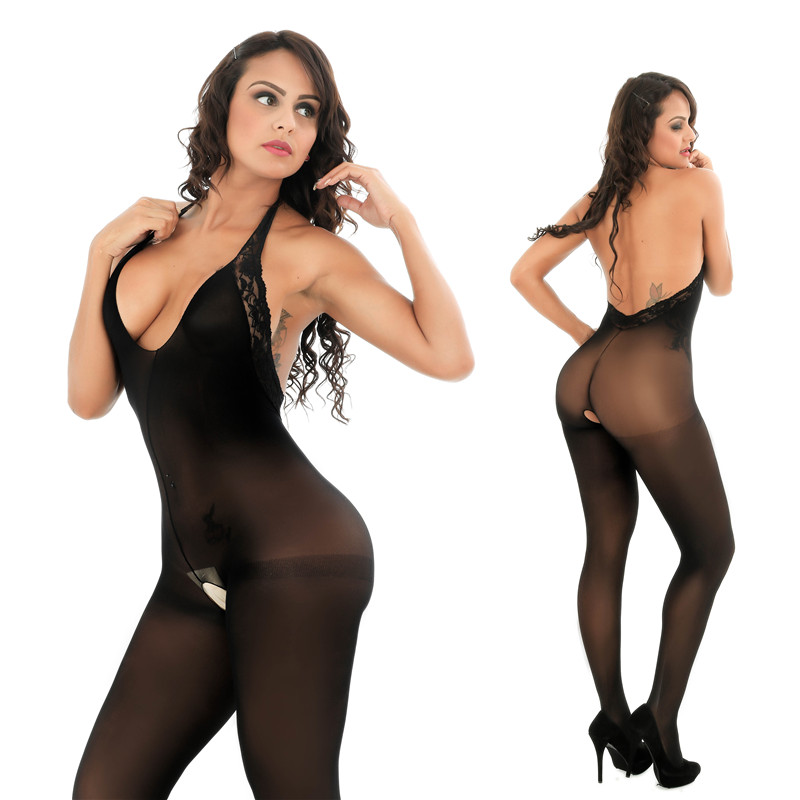 Intimates Slips Sexy Lingerie Open-Crotch Transparent Black Women Full-Body for Hot title=