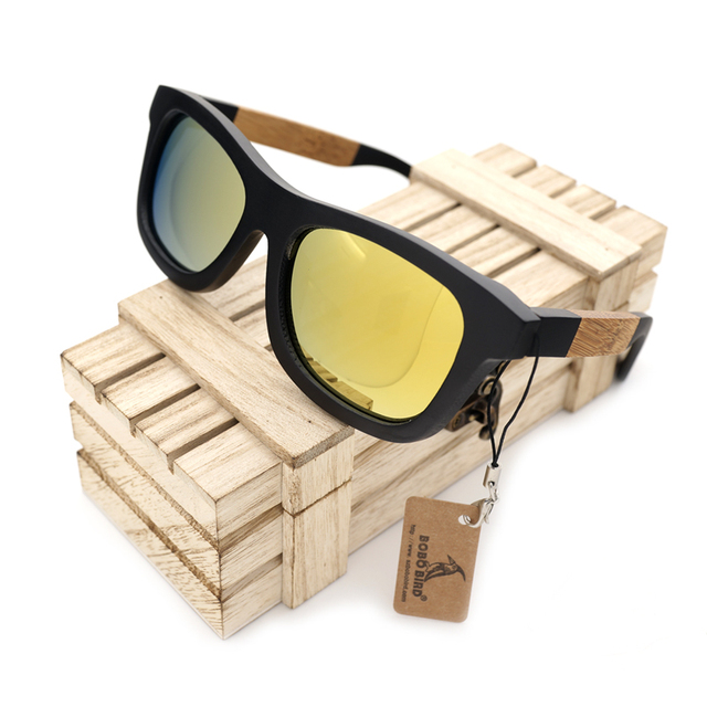 BOBO BIRD Handmade Polarized Glasses Creative Bamboo Wooden Frame And Yellow Polarized Lens Sunglasses Women Men With Box 2017