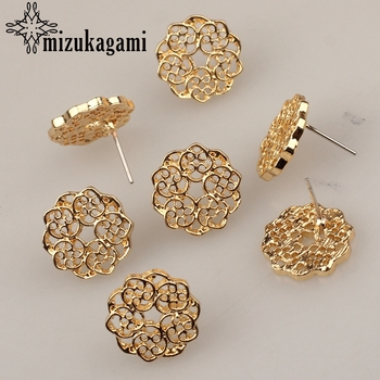 6pcs/lot Zinc Alloy Fashion Golden Round Flowers Base Earrings Connector Charms For DIY Fashion Earrings Jewelry Accessories zinc alloy fashion golden round flowers base earrings connector charms 6pcs lot diy earrings jewelry making accessories