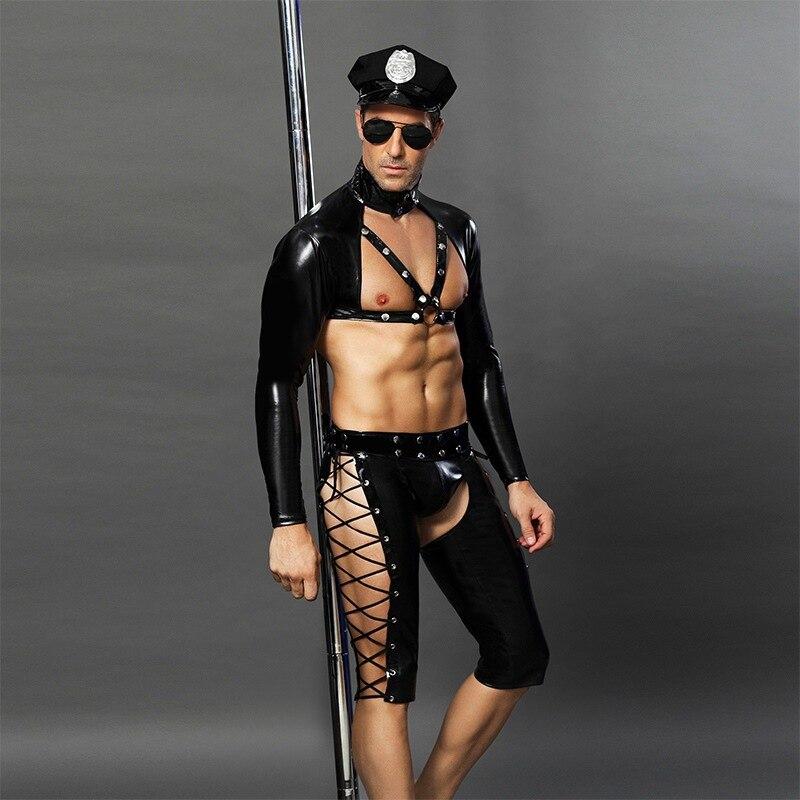 4 pièces PVC Sexy Police hommes Cosplay vinyle cuir Catsuit flic uniforme Lingerie sous-vêtements pour Gay adulte fantaisie Costume - 4