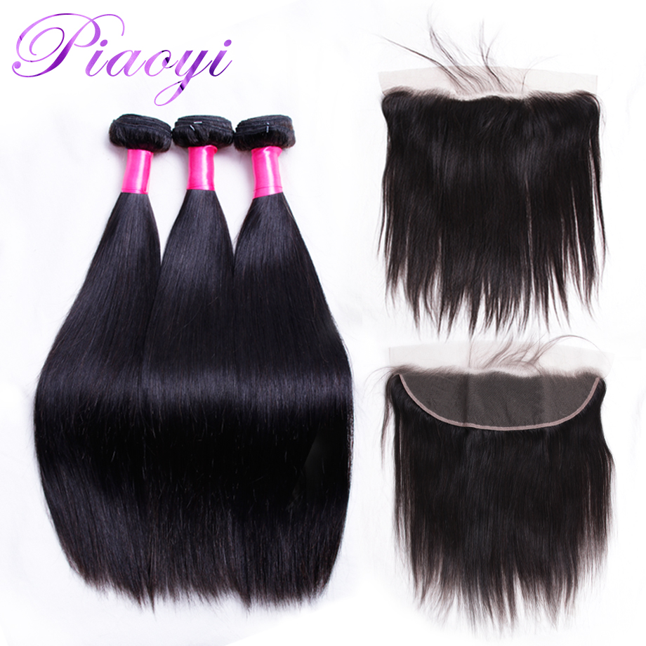 Brazilian Straight Hair Bundles With Frontal Remy Piaoyi Human Hair Weave 3 Bundles With 13x4 Ear To Ear Frontal Closure