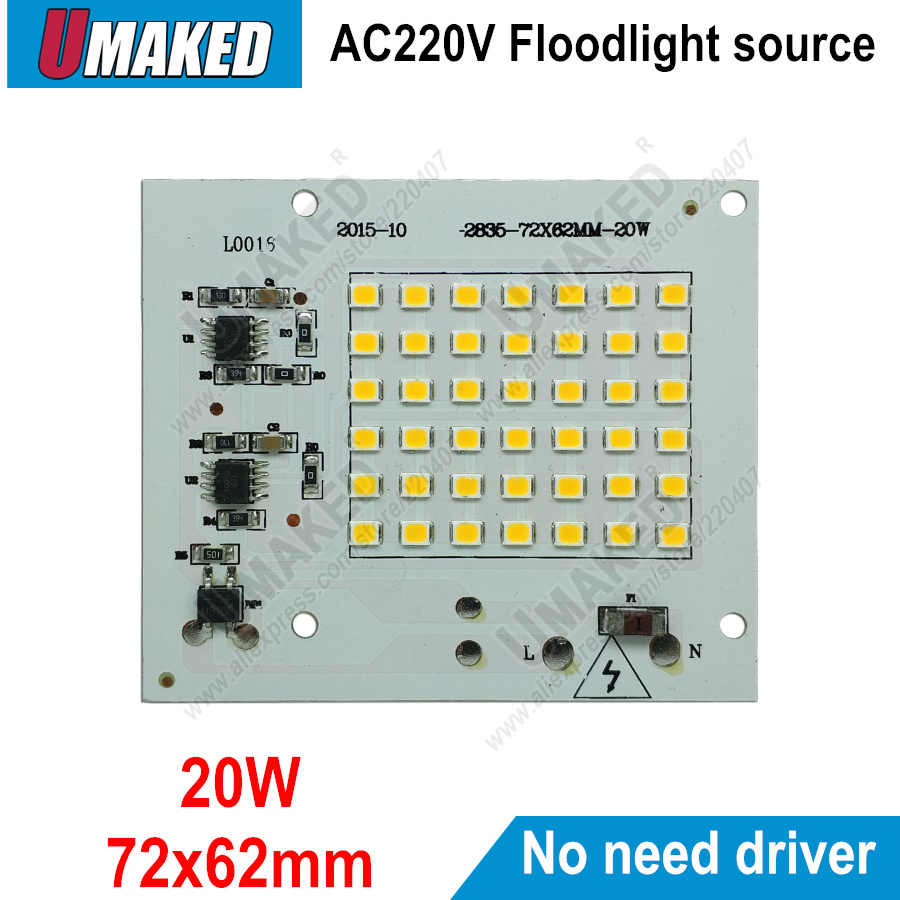 Real watt 20W 72x62mm AC 220V PCB smd geïntegreerde IC driver, PCB Geen behoefte driver, driverless printplaat direct naar ac 220v