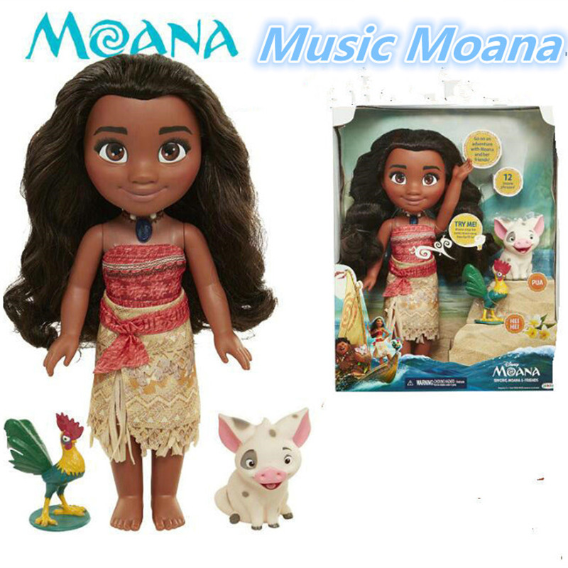 38CM Cartoon Moana Music Dolls Talks Sing How Far I'll Go Luminescence Friends PUA HEI HEI pig Toys Soft Stuffed Dolls For Girl go girl only go 698280 go girl only