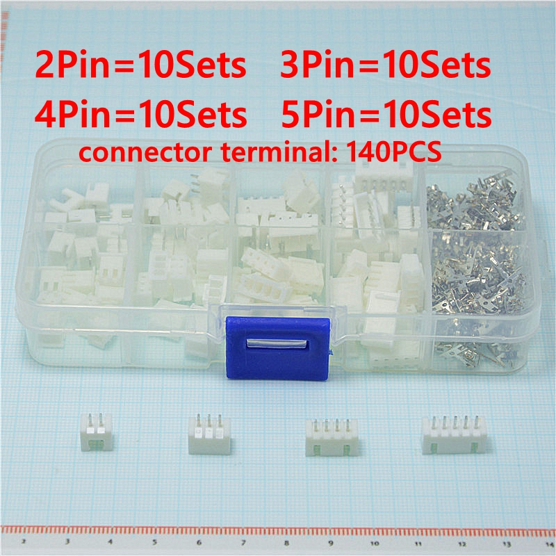 40 sets Kit in box 2p 3p 4p 5 pin 2.54mm Pitch Terminal / Housing / Pin Header Connector Wire Connectors Adaptor XH Kits 100sets lot connector ch3 96 molex 3 96 3pin 180 degrees top entry pitch 3 96mm pin header terminal housing ch3 96 3p