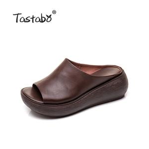 Image 2 - Tastabo 2019 yaz bayanlar terlik plaj ayakkabısı Vintage işçilik eğlence tarzı kalın tabanlı günlük ayakkabı rahat 40
