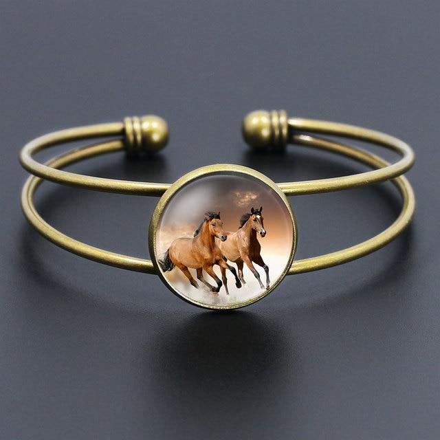 Antique Bronze Running Horse Jewelry Las Adjule Cuff Bangles For Women Whole S Copper Bracelets