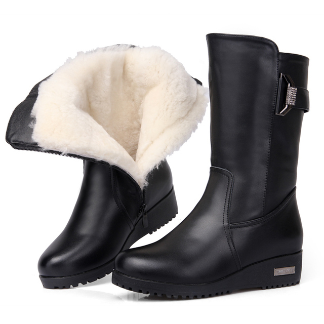 warm winter boots women genuine leather boots plus cotton lady boots thick wool warm cotton wool shoes best quality for women