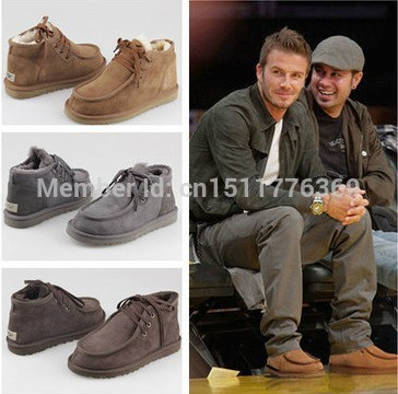 EUR39-44 HOT 5866 Men snow boots as David Beckham Brand Box Logo Best  Quality Genuine Leather Fashion Winter Shoes Free shipping 6af077995