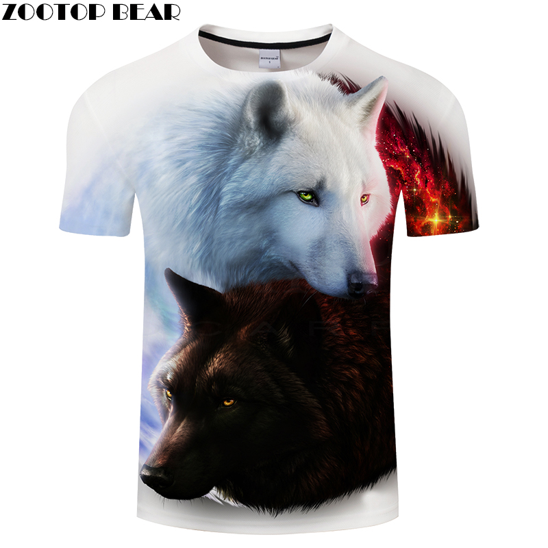 Lovers Wolf 3D Print t shirt Men Women tshirt Summer Funny Short Sleeve O-neck Tops&Tee 2018 White Classic Drop Ship ZOOTOP BEAR