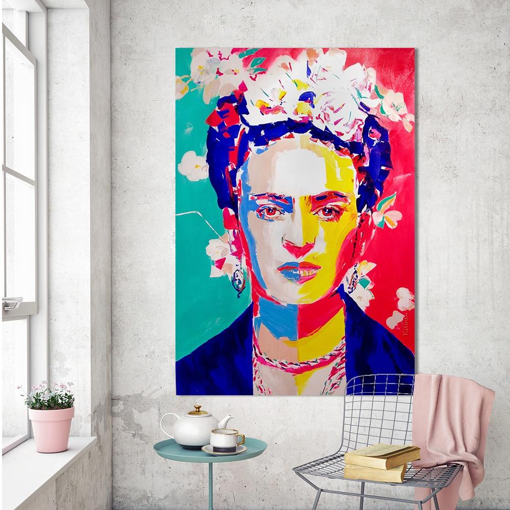 HDARTISAN Abbildung Pop Leinwand Kunst Wandbilder Für Wohnzimmer Frida Kahlo Moderne Malerei Blumen Wohnkultur Gedruckt