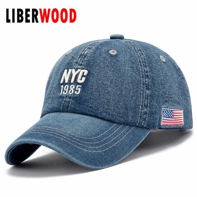 Denim Stałe Niebieskie Dżinsy NEW YORK City 1985 American Flag Baseball Hat  Cap Tata Cowboy Hat 15f7a717b14