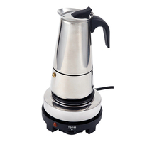 Stainless Steel Electric Moka Pot Espresso Maker Latte Percolator Italian Coffee Maker Pot For Use On Gas Electric