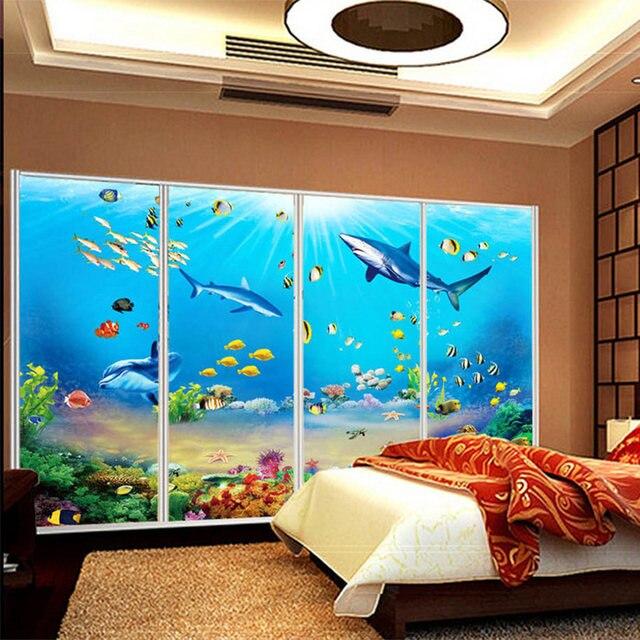 Foto Tapete HD Unterwasser Welt Hai Tropische Fisch 3D Wandbild Moderne  Aquarium Wohnzimmer TV Kinder Schlafzimmer Hintergrund Wand Dekor
