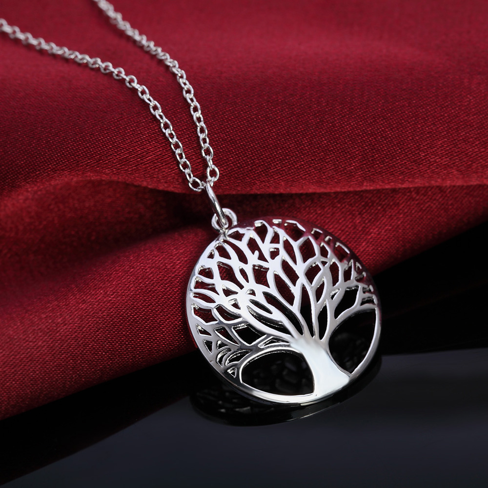 New hot factory cute solid silver plated jewelry fashion lady women retro trees round pendant necklace package mail LN030