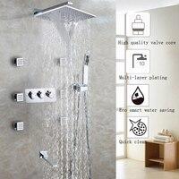 Водопад Ванная комната душа Установить Chrome Насадки для душа Ванная комната Продукты аксессуары Настенные Ванна и душ воды смесителя