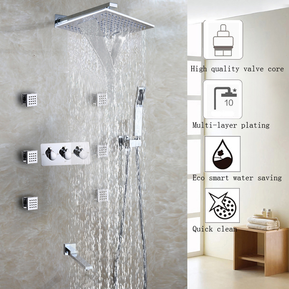Waterfall Bathroom Shower Faucet Set Chrome Shower Head Bathroom Products Accessories Wall Mounted Bath & Shower Water Mixer Tap
