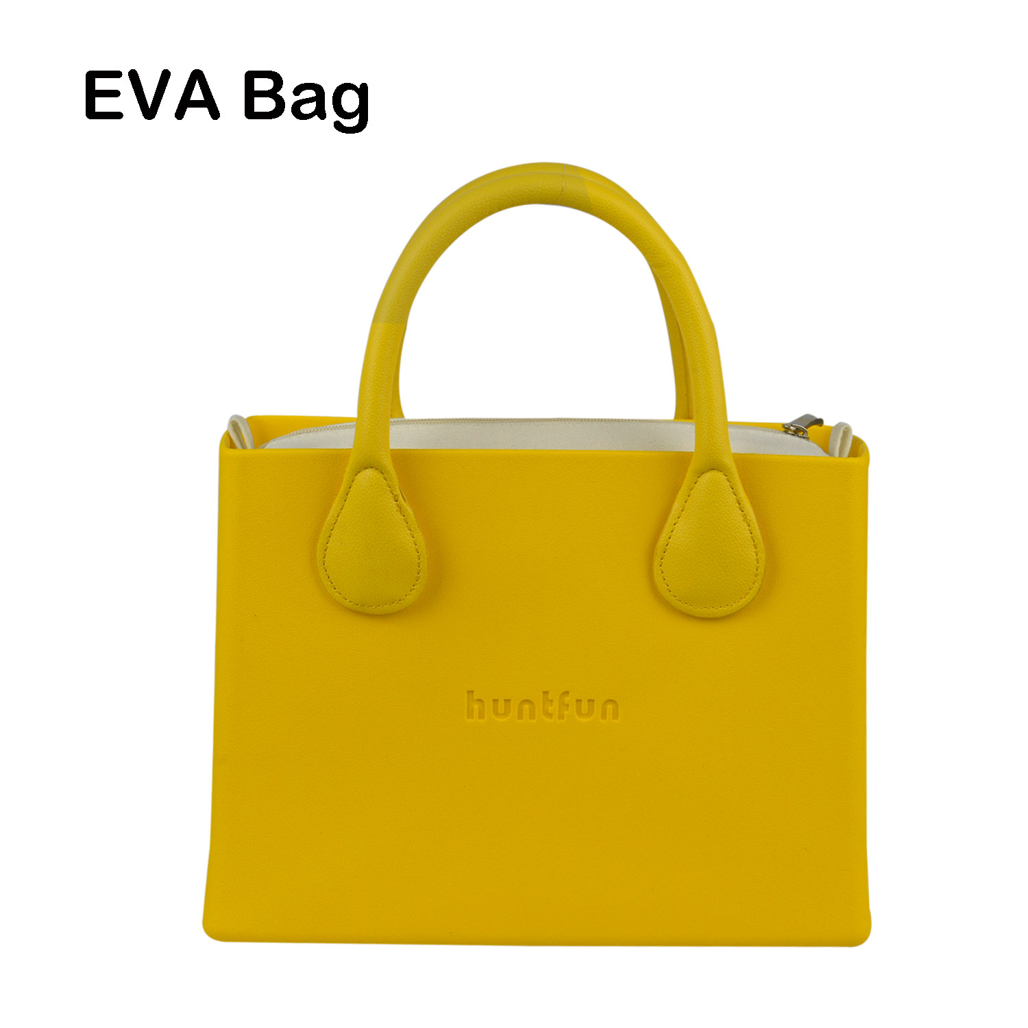 New huntfun Rubber Silicon shoulder bag EVA Square Bag Canvas Insert Leather Handle Waterproof O Bag Style Women O HandbagNew huntfun Rubber Silicon shoulder bag EVA Square Bag Canvas Insert Leather Handle Waterproof O Bag Style Women O Handbag