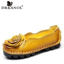 DRKANOL Autumn Plus Size 35-42 Slip On Casual Loafers Women Flat Shoes Handmade Genuine Leather Flowers Soft Bottom Women Flats