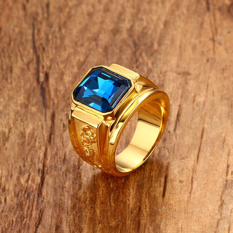 Men's Blue Rhinestone Ring with Dragon Pattern Gold-color Men Wedding Band Male Stainless Steel Jewelry anel masculino anel custom size hammered pattern pure titanium steel jewelry engagement ring wedding band for men