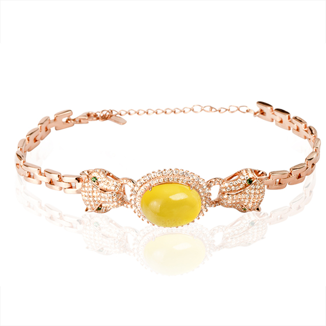 Natural prehnite , S925 silver material and rose gold plated bracelet , popular and fashion style, trendy accessories