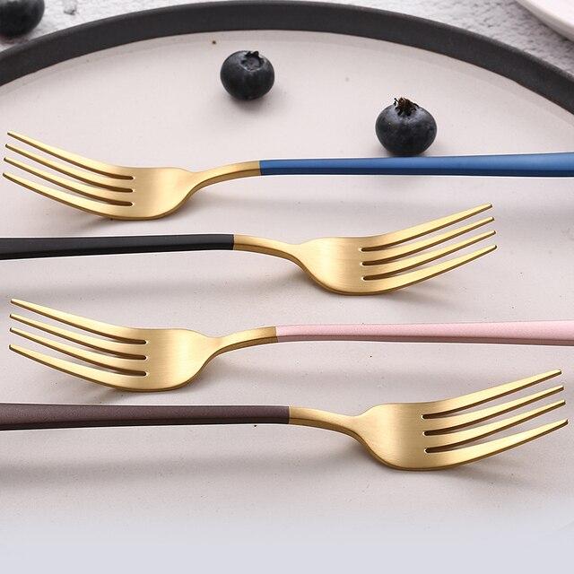 JueQi Tableware Set Cutlery Stainless Steel 304 Utensils Kitchen Dinnerware include Knife Fork TeaSpoons Camping Tableware Bag 2