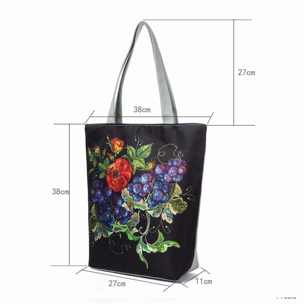 New Spring Women Canvas Tote Vintage Flowers Print Beach Bags For Female Grape Design Shopping Handbags Girls Floral Zipper Bag 1