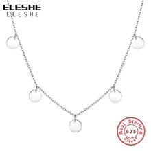 ELESHE 2019 New Luxury Fashion Round Coin Choker Necklace for Women 925 Sterling Silver Chain Necklace Collier Femme(China)