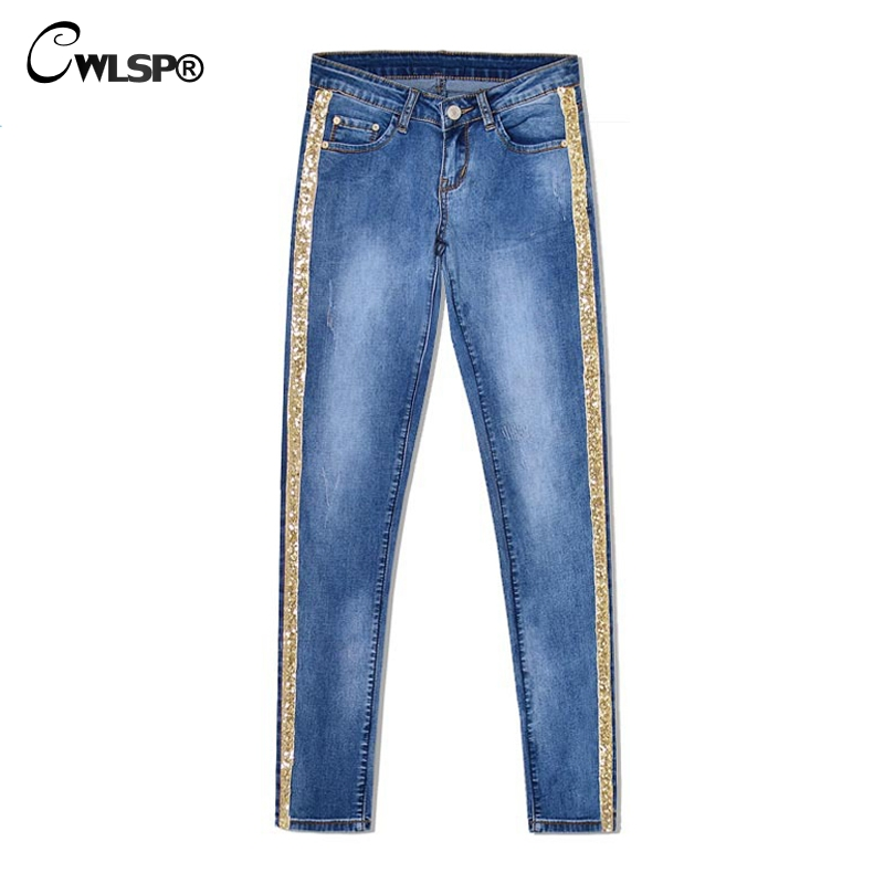 CWLSP Bling Gold Side Stripe Plus size Feamle Pencil   Jeans   Woman Full Length denim   Jeans   Blue Low Waist Pants Skinny Trousers
