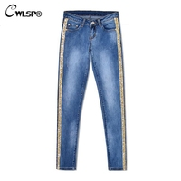 CWLSP Bling Gold Side Stripe Plus size Feamle Pencil Jeans Woman Full Length denim Jeans Blue Low Waist Pants Skinny Trousers