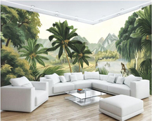 beibehang High level wallpaper European style retro  hand-painted rainforest mural TV background wall for walls 3 d