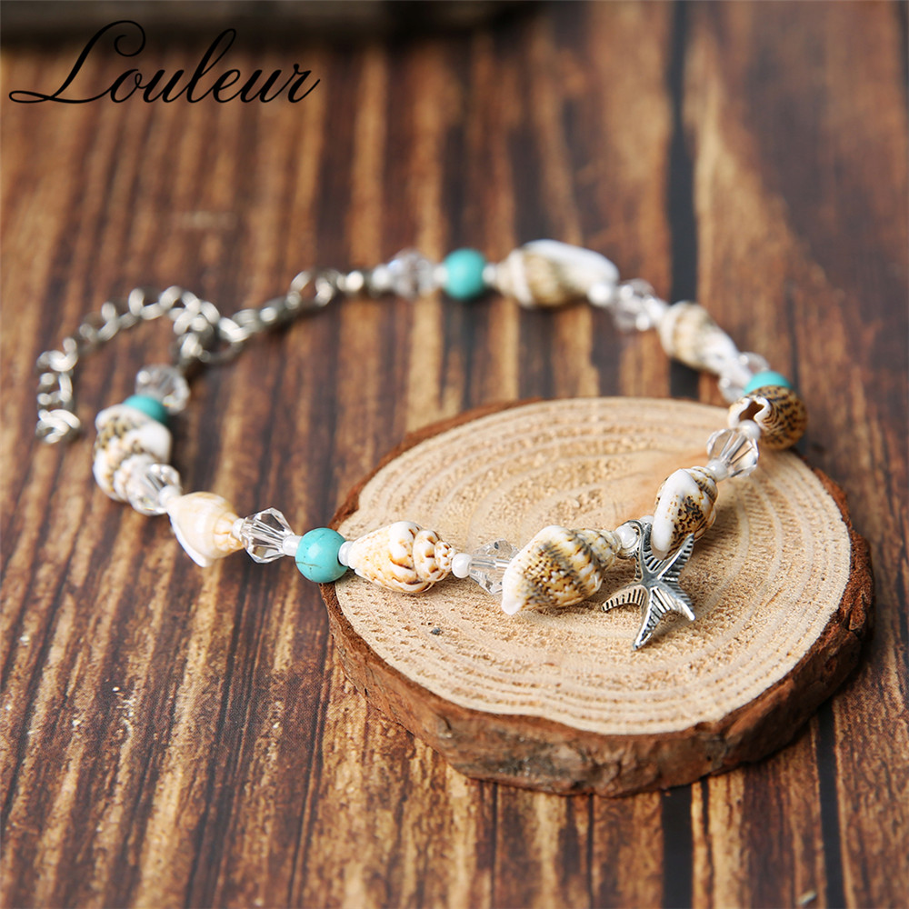 Louleur New Bohemian Shell Crystal Beaded Anklets For Women Starfish Stone Barefoot Beach Ankle Bracelet Foot Summer Jewelry