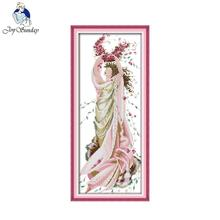 Joy Sunday Rose Fairy Embroidery Floss DIY Needlework DMC Cross Stitch Kits For A Crafts R761