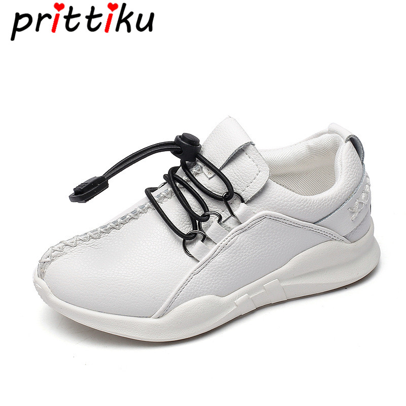 Spring 2018 Toddler Boy Girl Sport School Sneakers Little Kid Real Leather Slip On Trainers Big Children White Breathable Shoes teva jansen leather kids sport shoe toddler little kid big kid