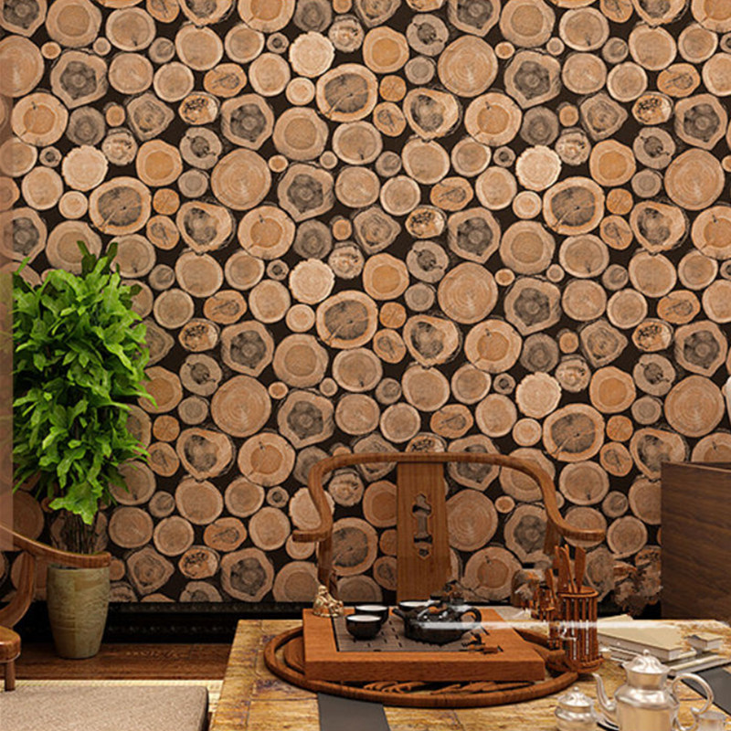 Super thick wood log texture embossed pvc waterproof wall for Wall to wall paper