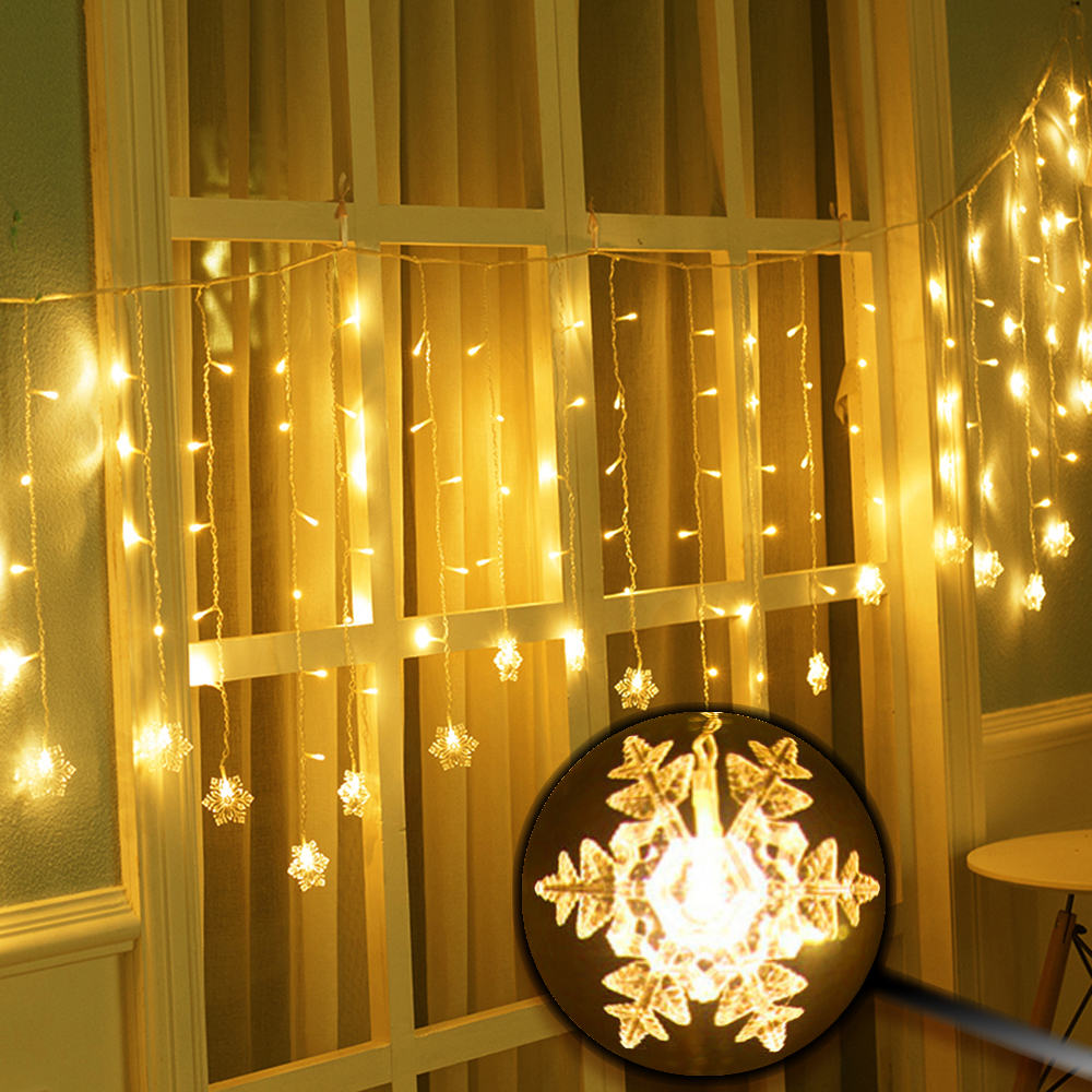 2*1M LED Curtain String Light Snowflake Fairy Lights For Christmas Holiday Outdoor Decoration Wedding Party 104 Leds EU Plug JQ 5m 28leds snowflake led string lights christmas holiday lighting for the curtain bedroom party wedding decoration