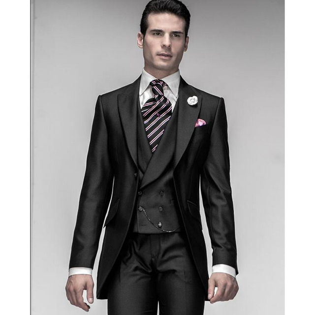 dc857ea708b9 New Morning Slim Fit costume homme 2017 Nero Abiti Da Sposa Per Uomo  Smoking Dello Sposo