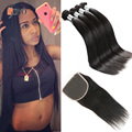 7a unprocessed virgin brazilian straight hair 4 bundles with closure aliexpress brazilian virgin hair straight closure free part