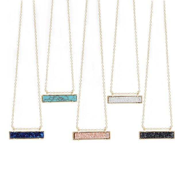 Resin Druzy Vertical Bar Necklace Highly Polished Metal Pendant