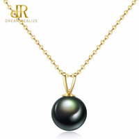 DR Natural Tahiti Black Pearl Pendent Necklaces for Women Genuine 18K Gold Chain Necklace Fine Jewelry Valentine's Day Gift