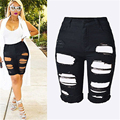 Womens Ladies High Waist Ripped Hole Washed Distressed Jeans Hot Outdress