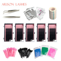 Arison Lashes 2018 Make Up Eyelash Extensions Tool Kit Individual False Lash Curl Tweezer Tool Kit Bag Practice Graft Lashes