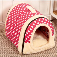 Two Color Dual Use Dog Bed Pink Brown Pet Products Cloth Cotton Dog House Three Size