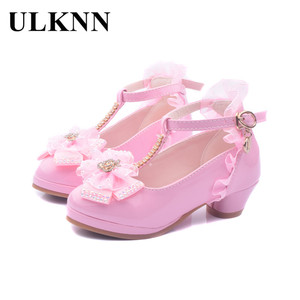 Image 2 - ULKNN 어린이 파티 가죽 신발 여자 PU 낮은 굽 레이스 꽃 아이 신발 여자 단일 신발 댄스 드레스 신발 화이트 핑크