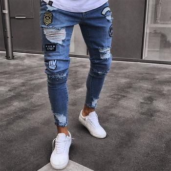 ผู้ชายกางเกงยีนส์ Biker Skinny Destroyed Frayed พิมพ์เย็บปักถักร้อย Slim Fit Denim กางเกง Jean Denim กางเกง
